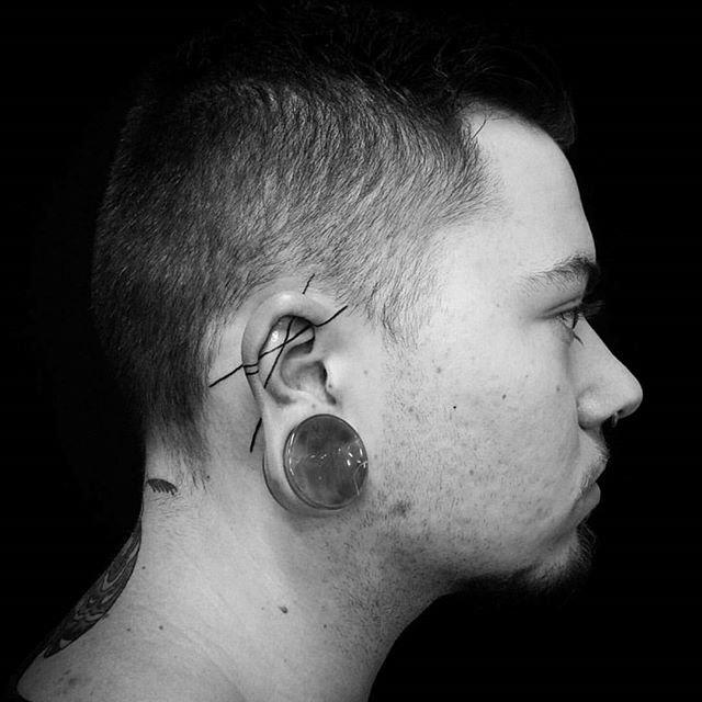 Two Lines Tattoo by @karaalexistattoo
