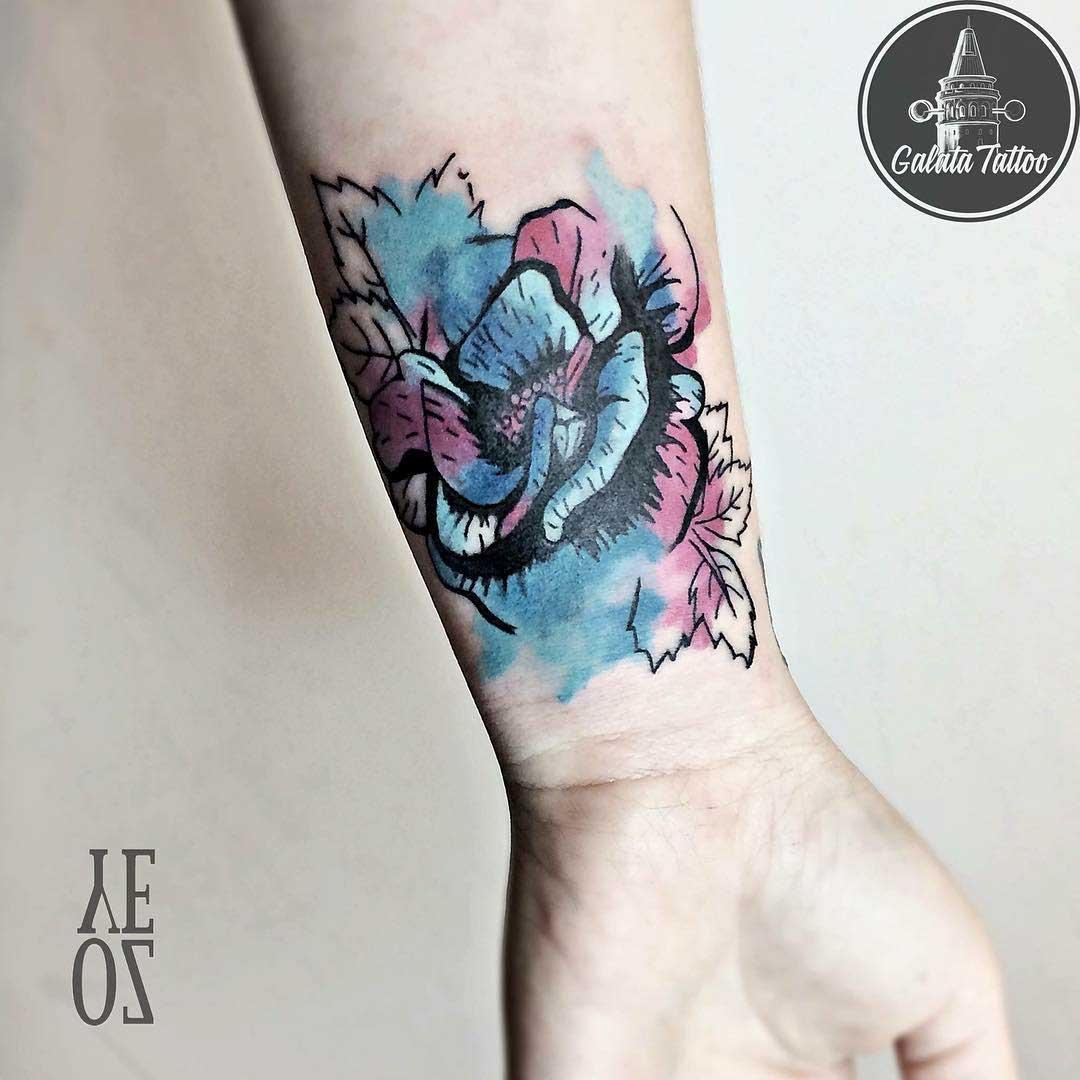 wrist tattoo watercolor flower