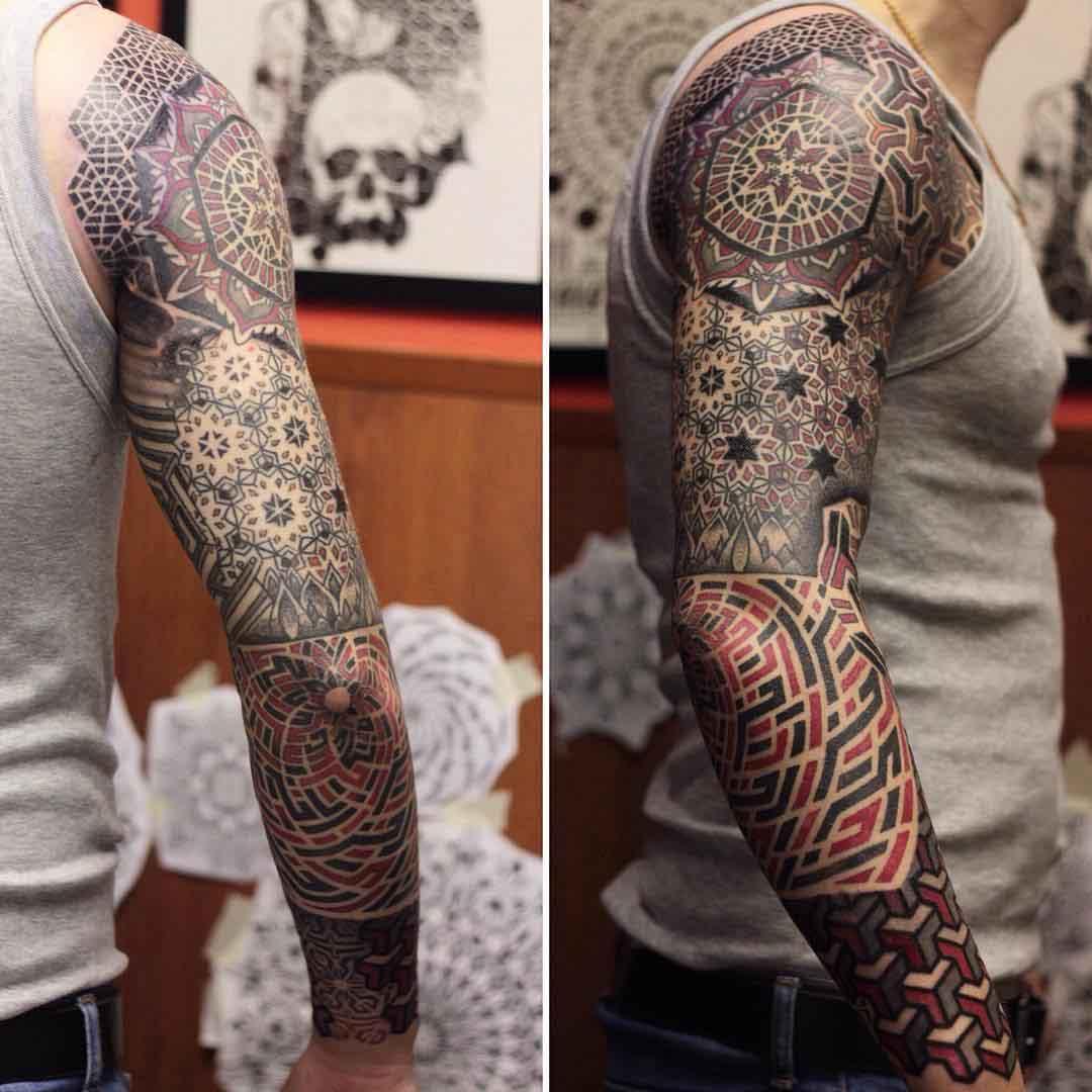 full arm tattoo sleeve dotwork