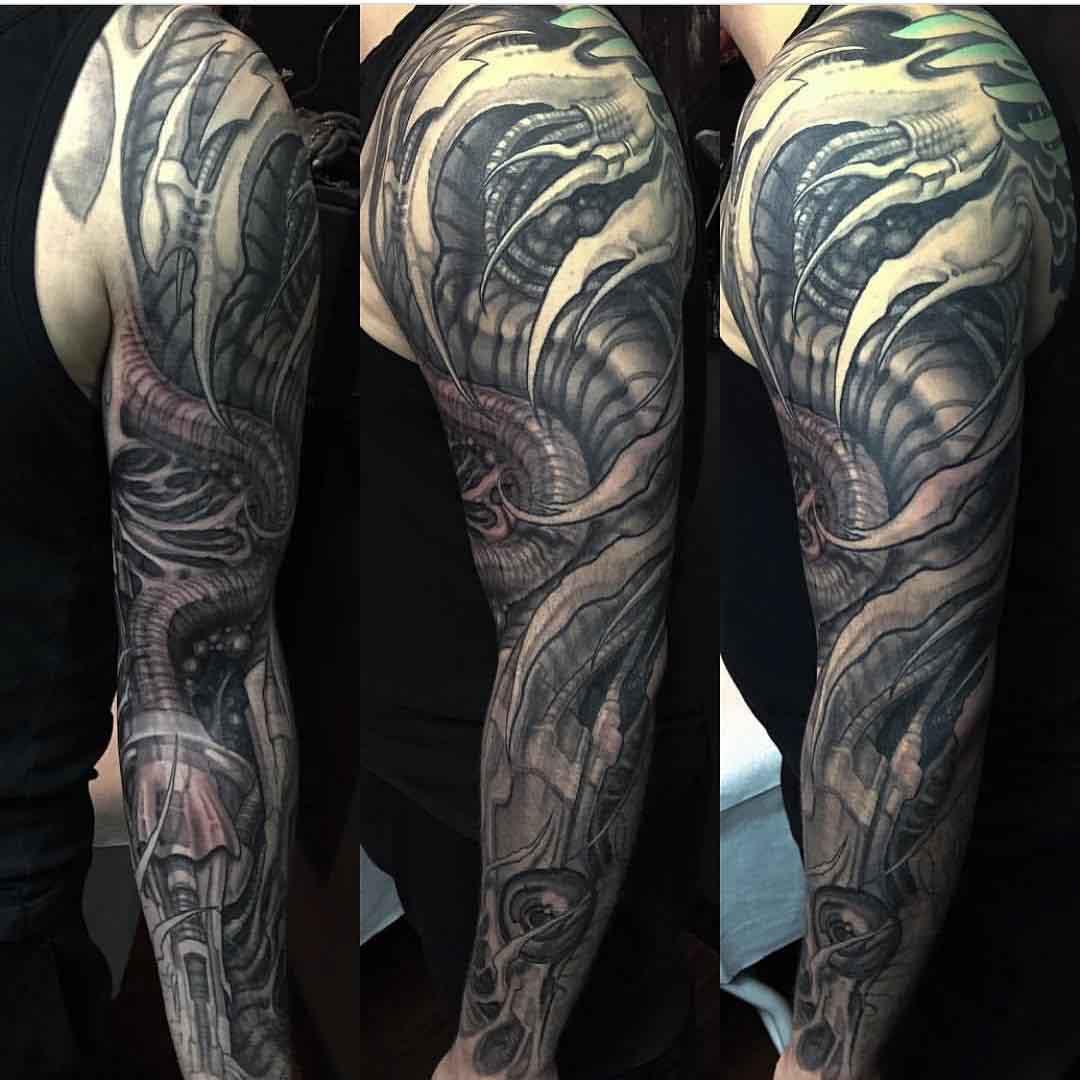 full arm sleeve tattoo biomechanical