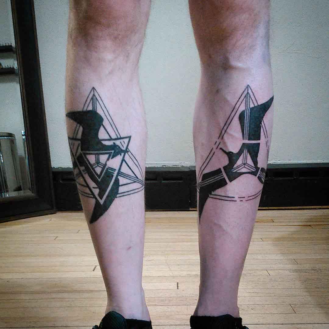 Black Birds Tattoos on Shins by midgetgoldfish