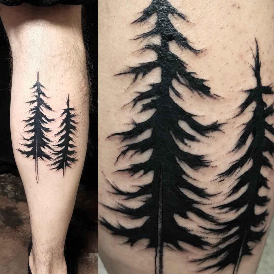 pine tree tattoo blackwork