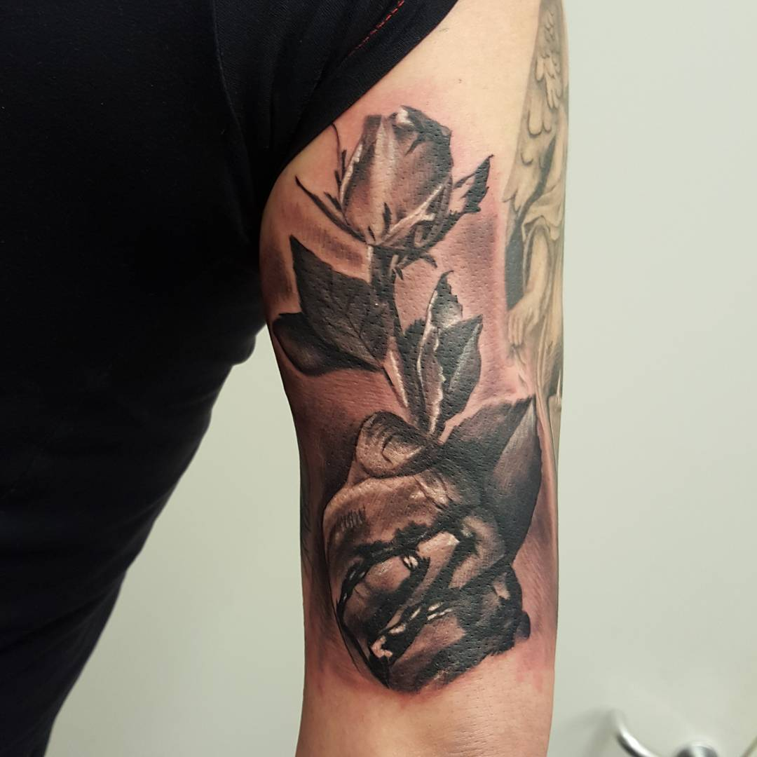 Bleeding Hand With Rose Tattoo by kevinwilsontattoos
