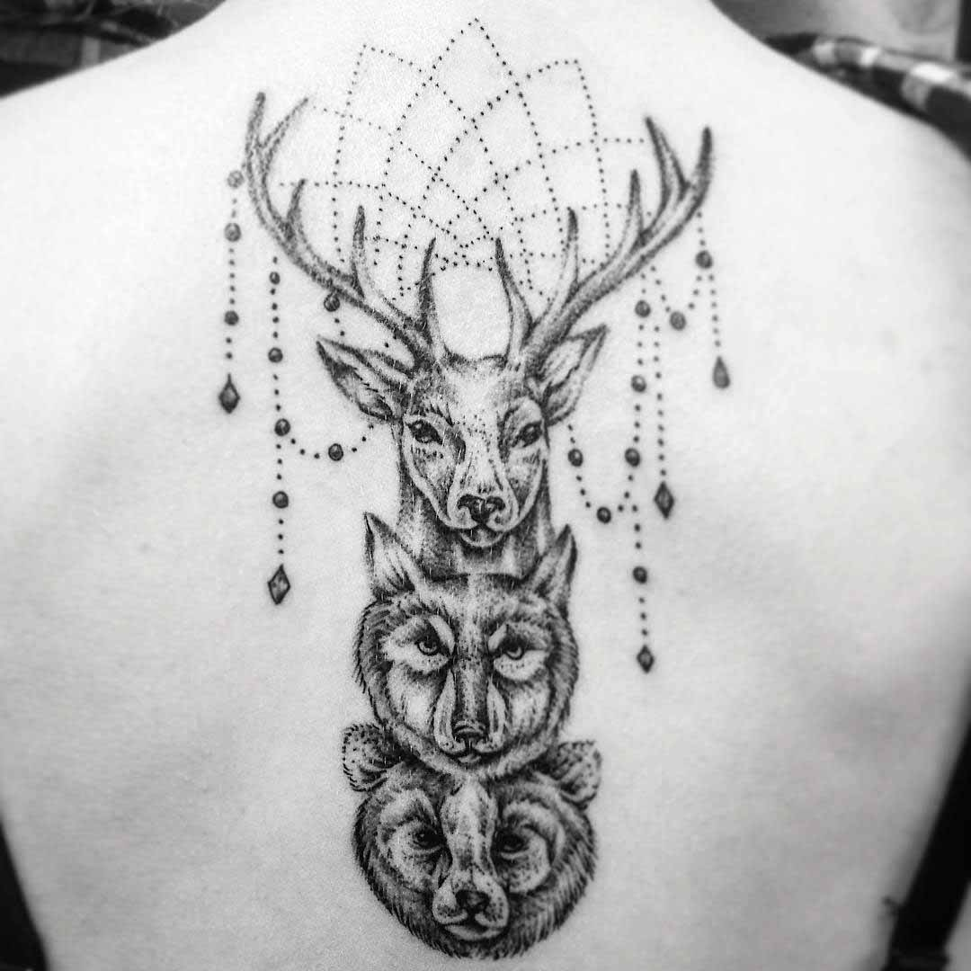 Buck Wolf and Bear Tattoo on Spine by ninilees