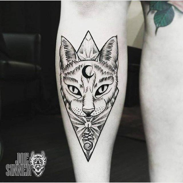 Cat and Moon Tattoo by @joesinnertattoos