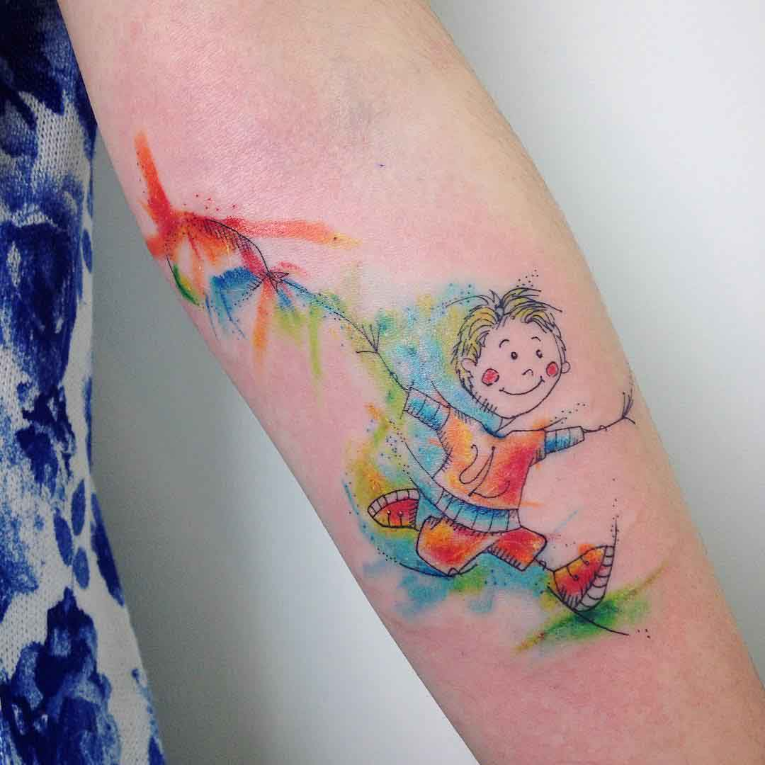 kid with ballon childhood tattoo watercolor