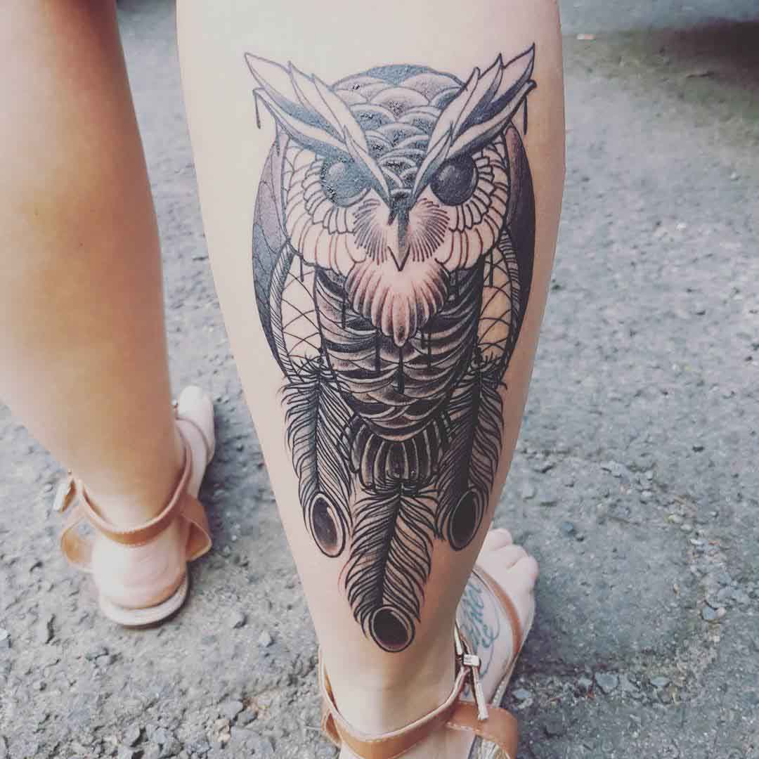 Dreamcatcher Owl Tattoo on Calf