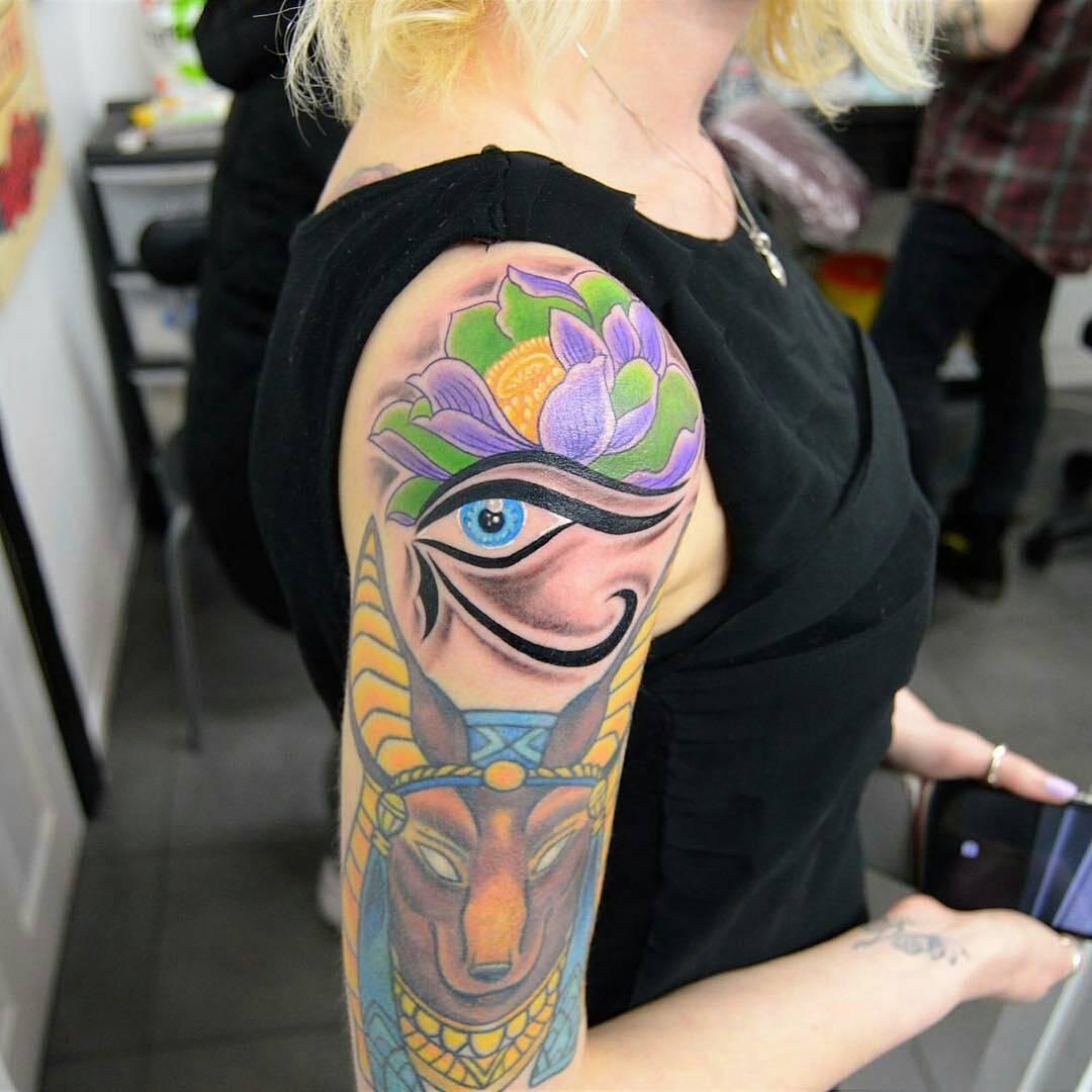 Egyptian Sleeve Tattoo by @moosetattoos