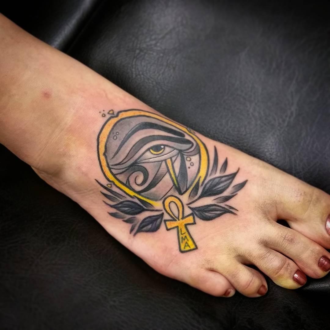 Egyptian Tattoo on Foot by chayballardtattoo