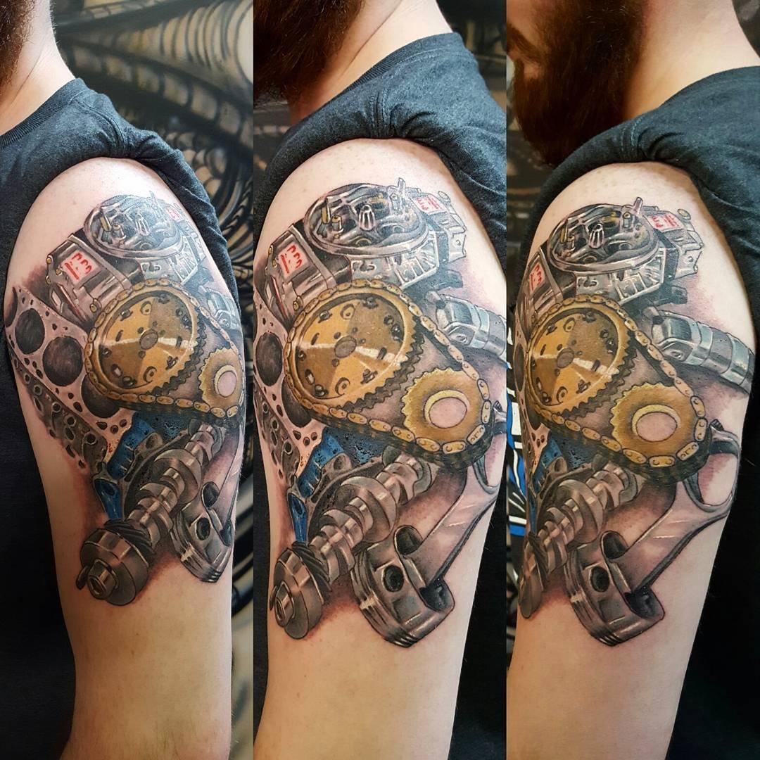 Engine Parts Tattoo by jasonrhodestat2