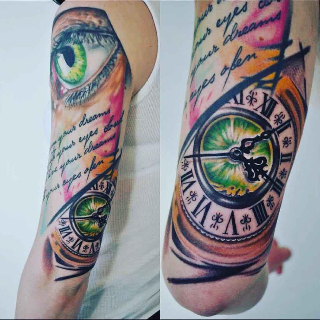 Eye and Clock Half Sleeve Tattoo