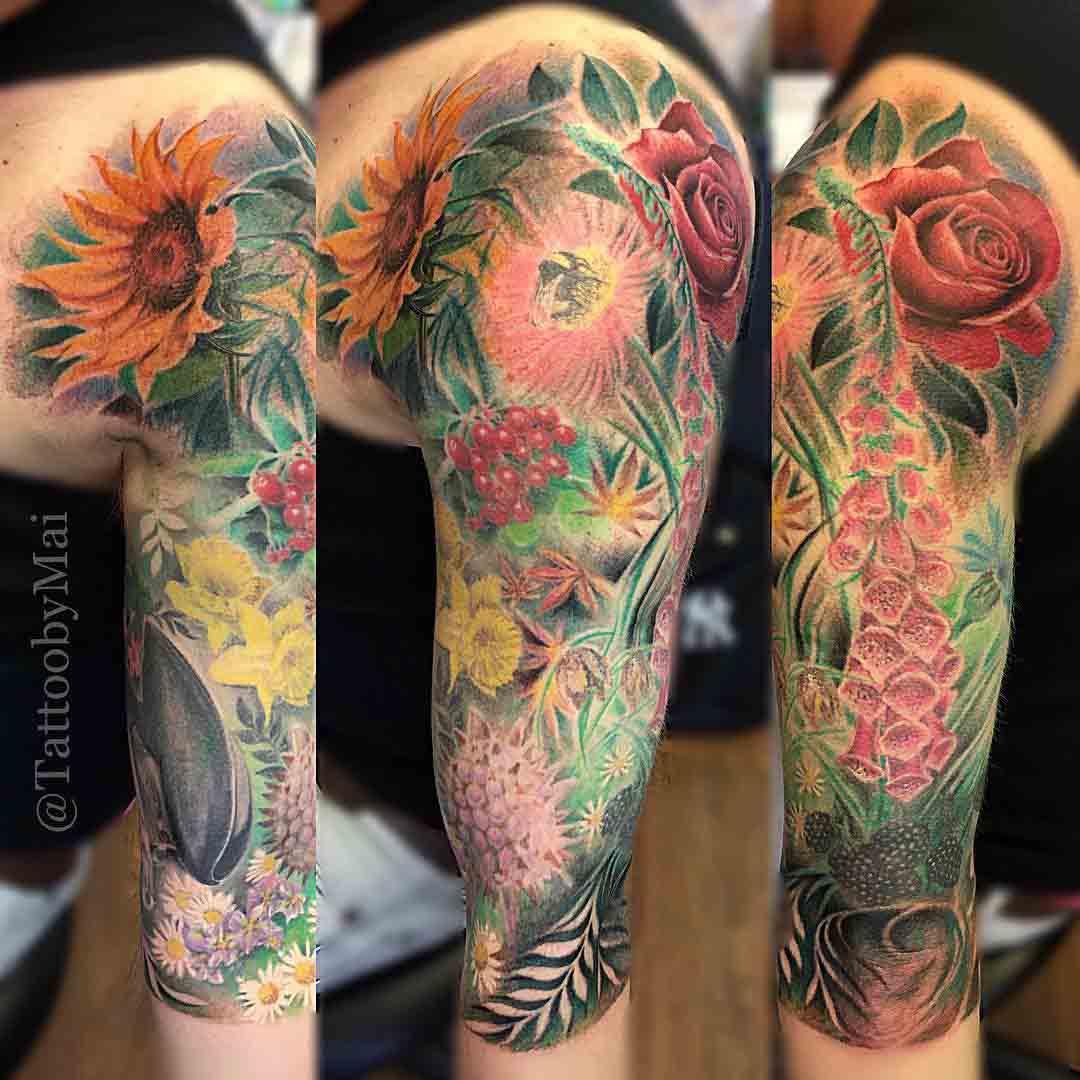 Flowers on Shoulder Tattoo by tattooemporium7oaks