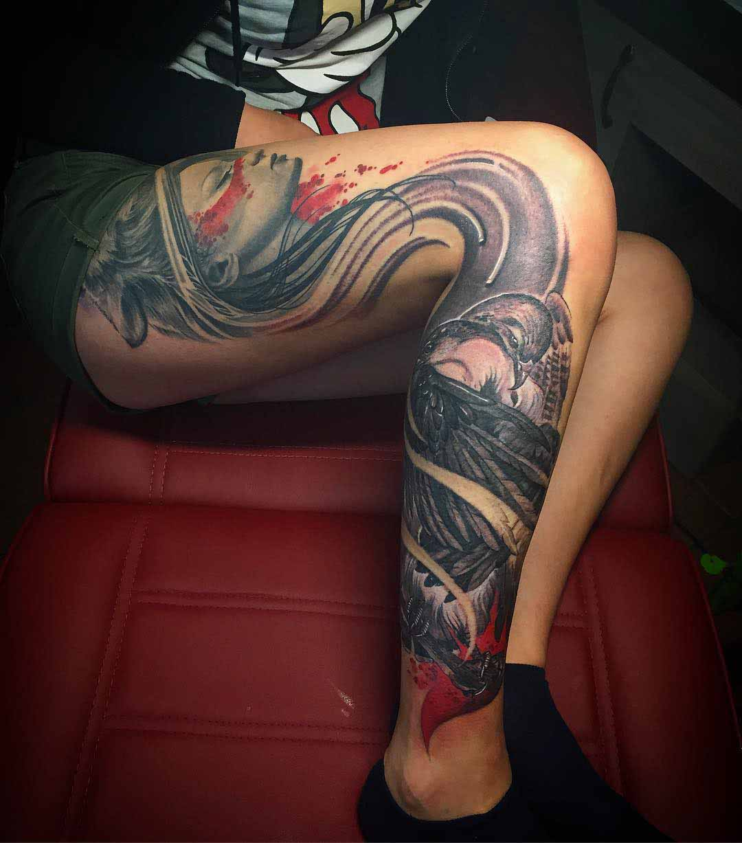 awesome side leg tattoo for girl
