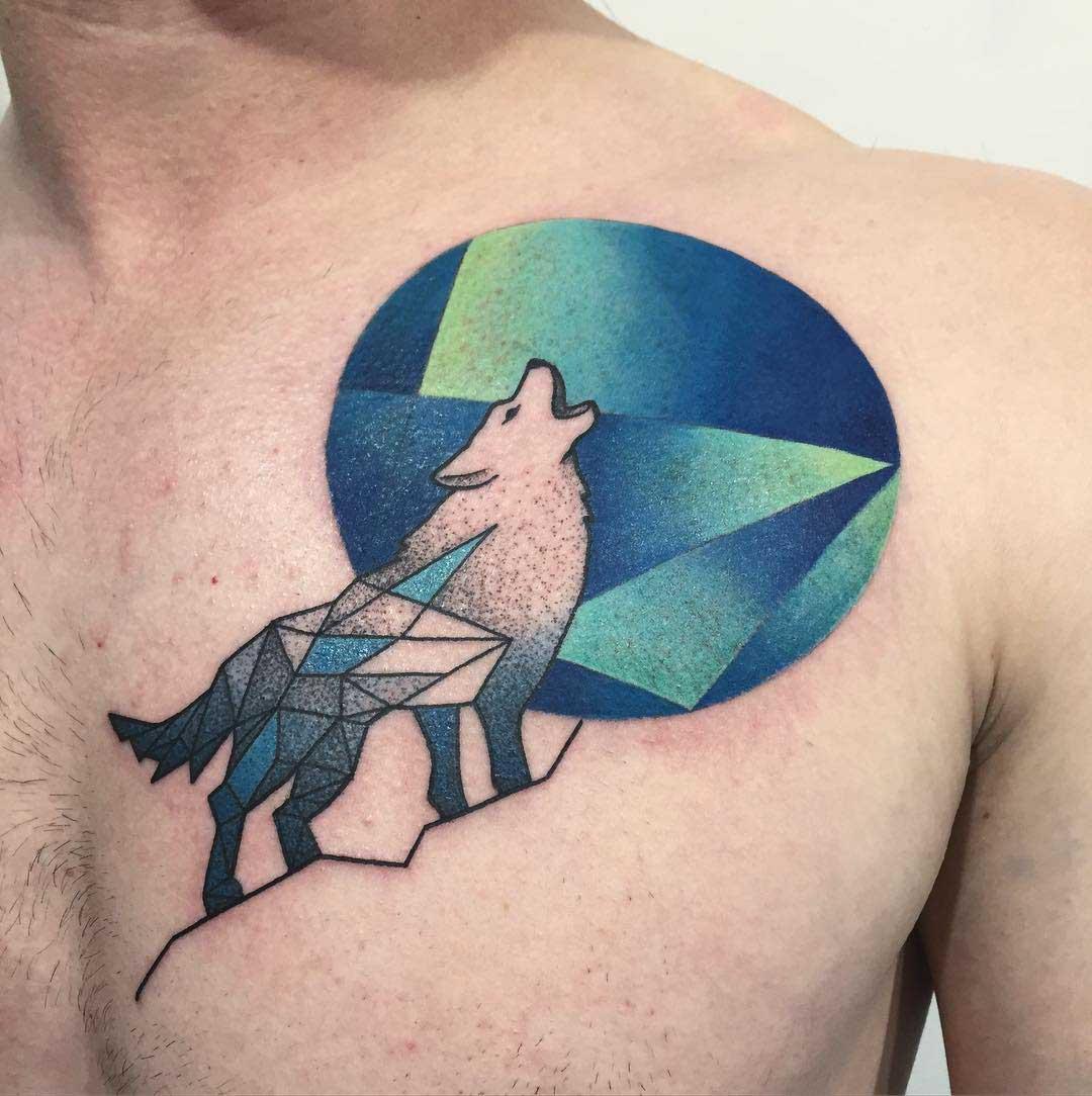 chest wolf tattoo geometry