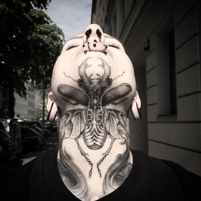 Giant Bug Tattoo on Chin by andy_ma_berlin