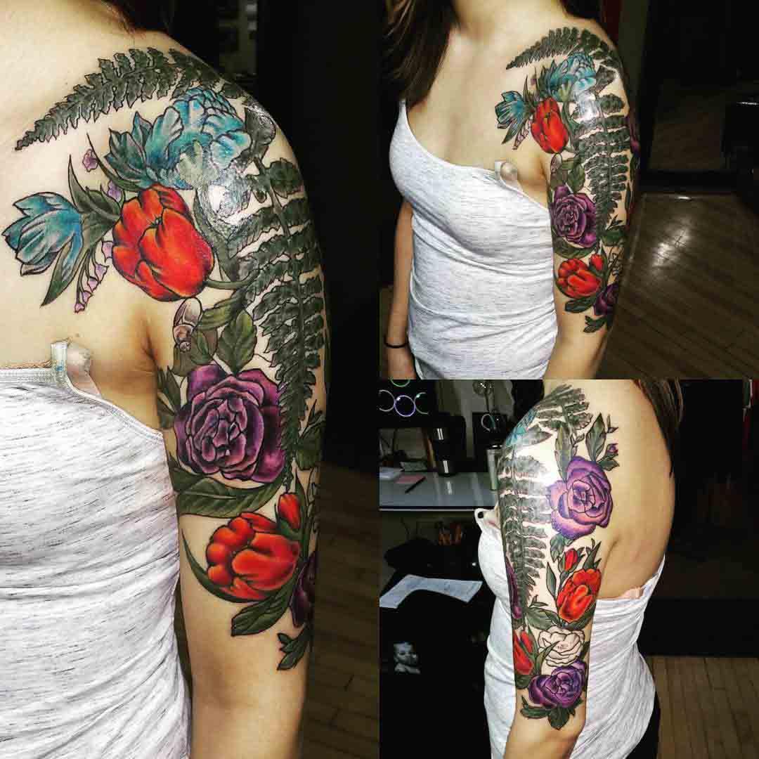 Half Sleeve Tattoo Flowers by mplstattoo