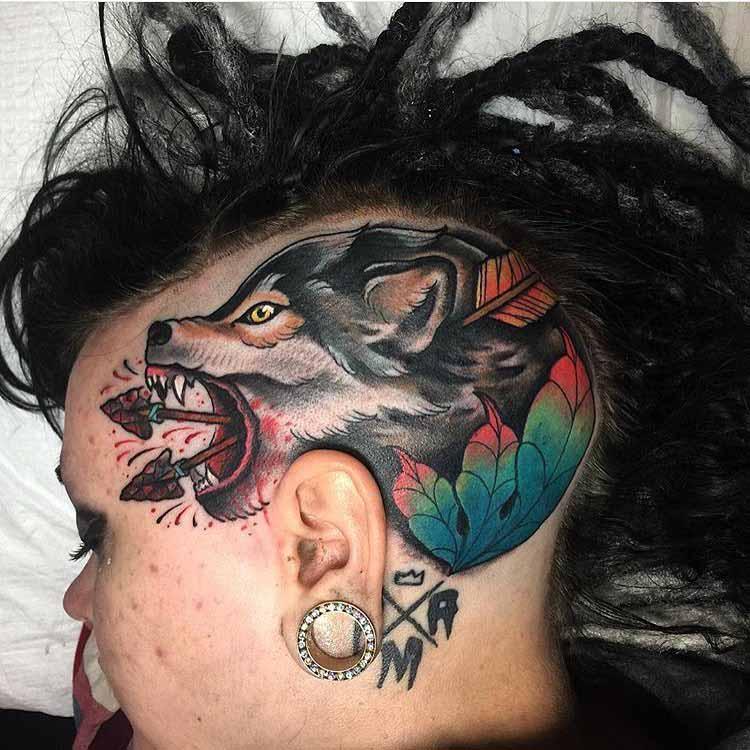 wolf tattoo on head side