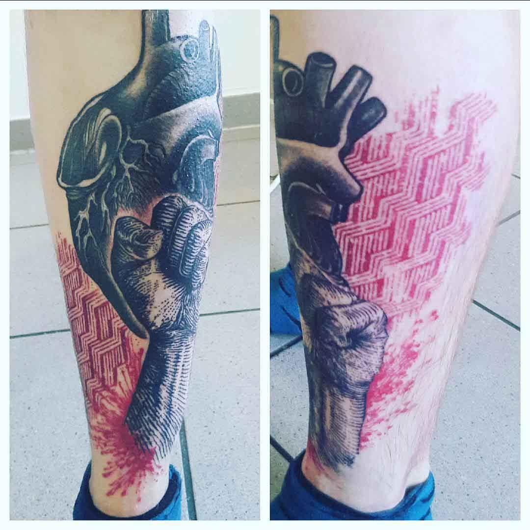Heart Fist Tattoo on Shin