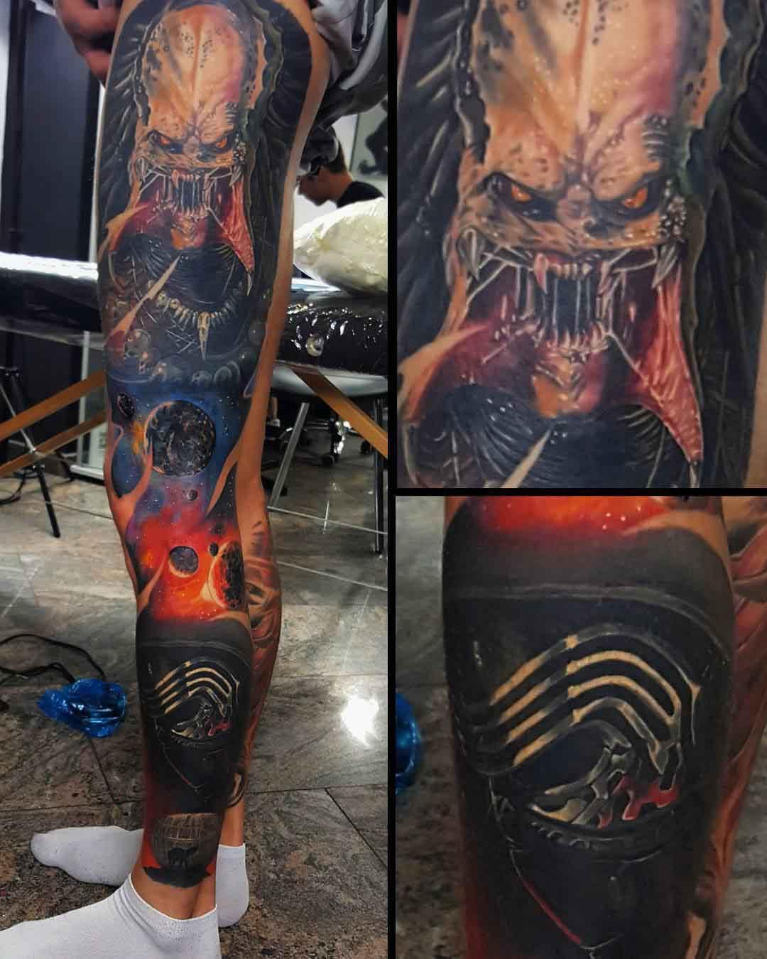 Predator tattoo sleeve Star Wars on Leg