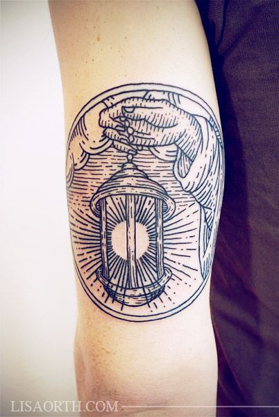 Linework Lantern Tattoo on Tricep by lisa orth