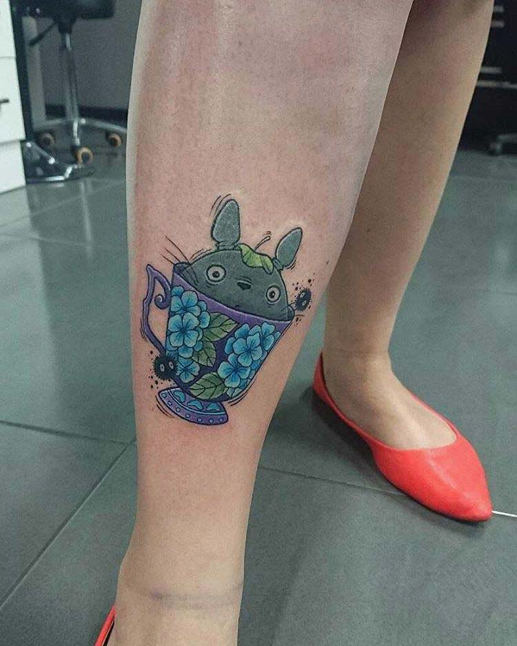 Little Totoro In a Teacup by sonjabowtattoos