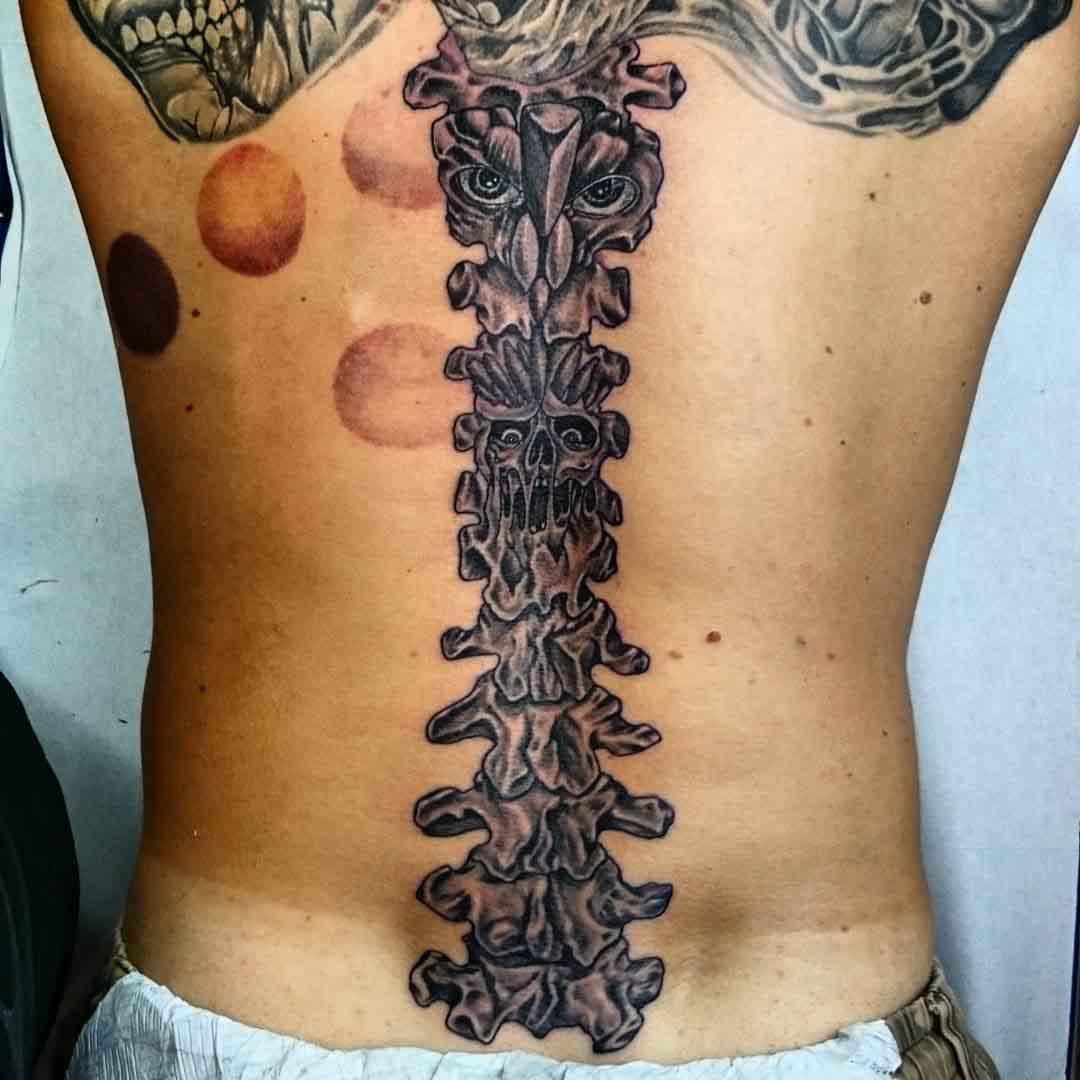Monster Spine Tattoo by johnnystattooart