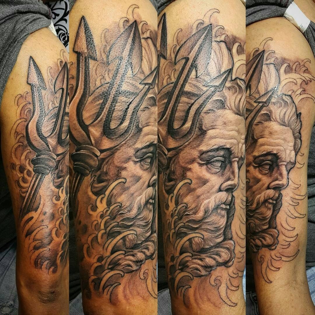 Neptune Tattoo on Tricep by htamares