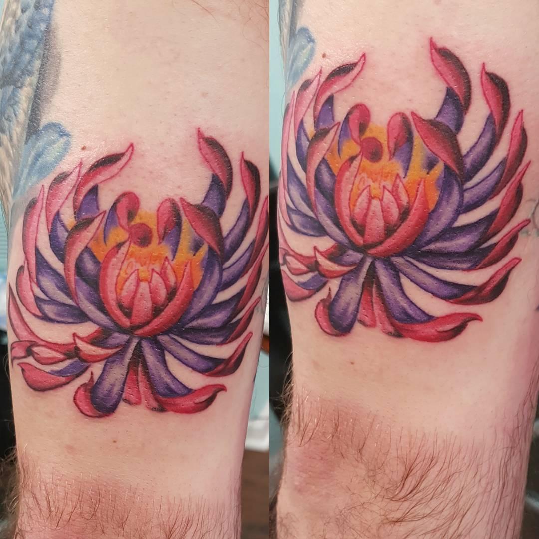 Purple Lotus Tricep Tattoo by bronbronink