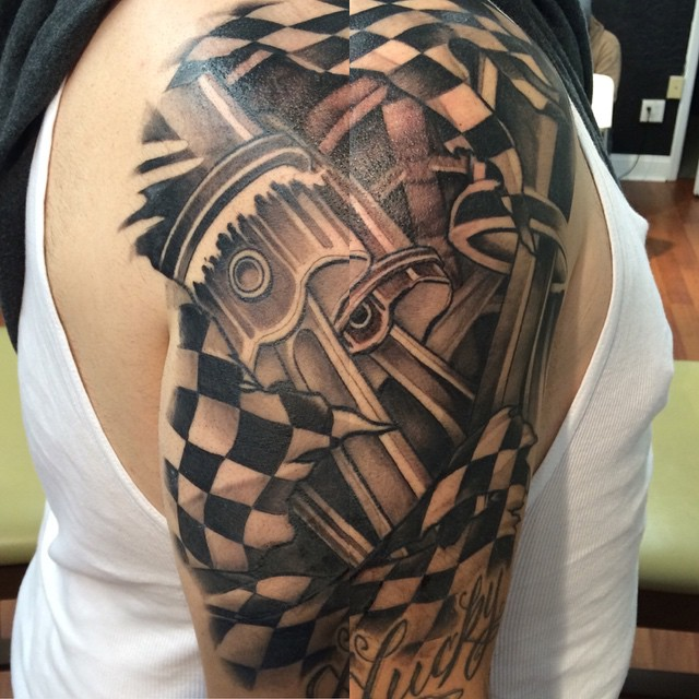Racing Pistons Tattoo on Shoulder by 0ncoming_storm