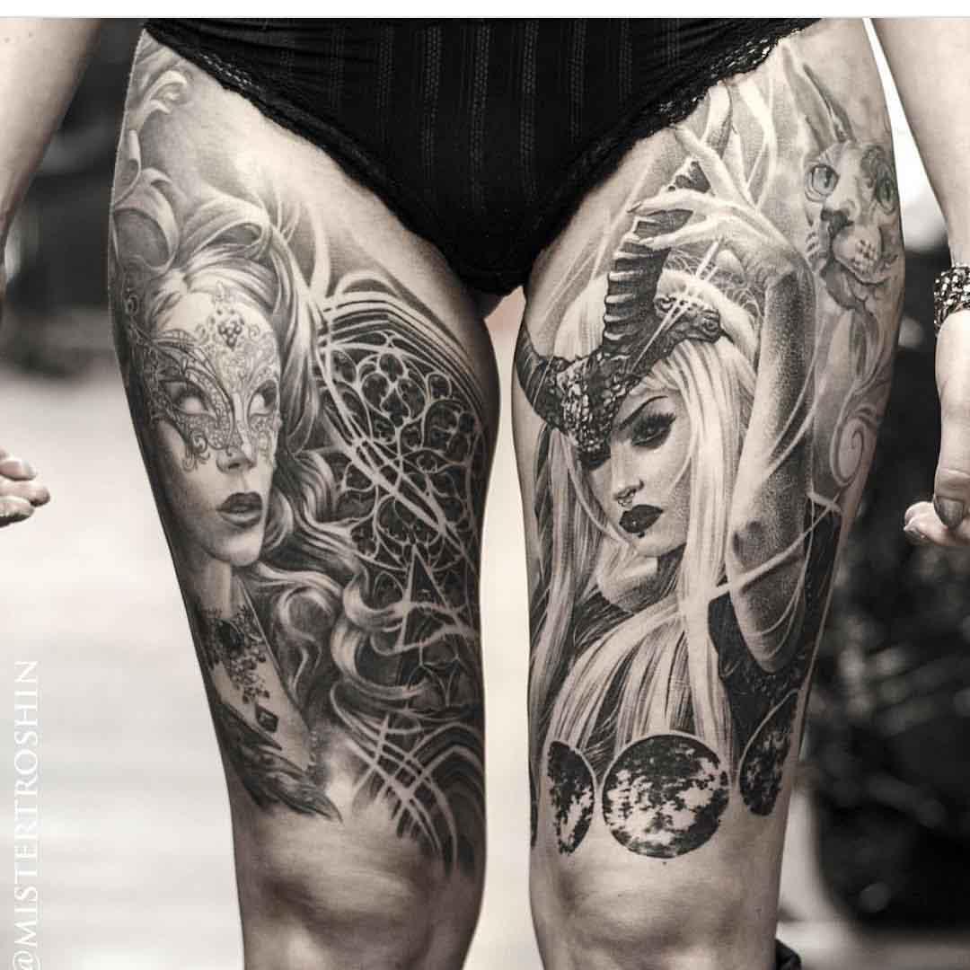 thigh tattoos realism girls