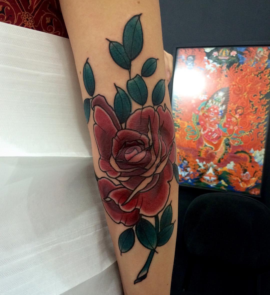 Rose Elbow Tattoo by trindade_luiz