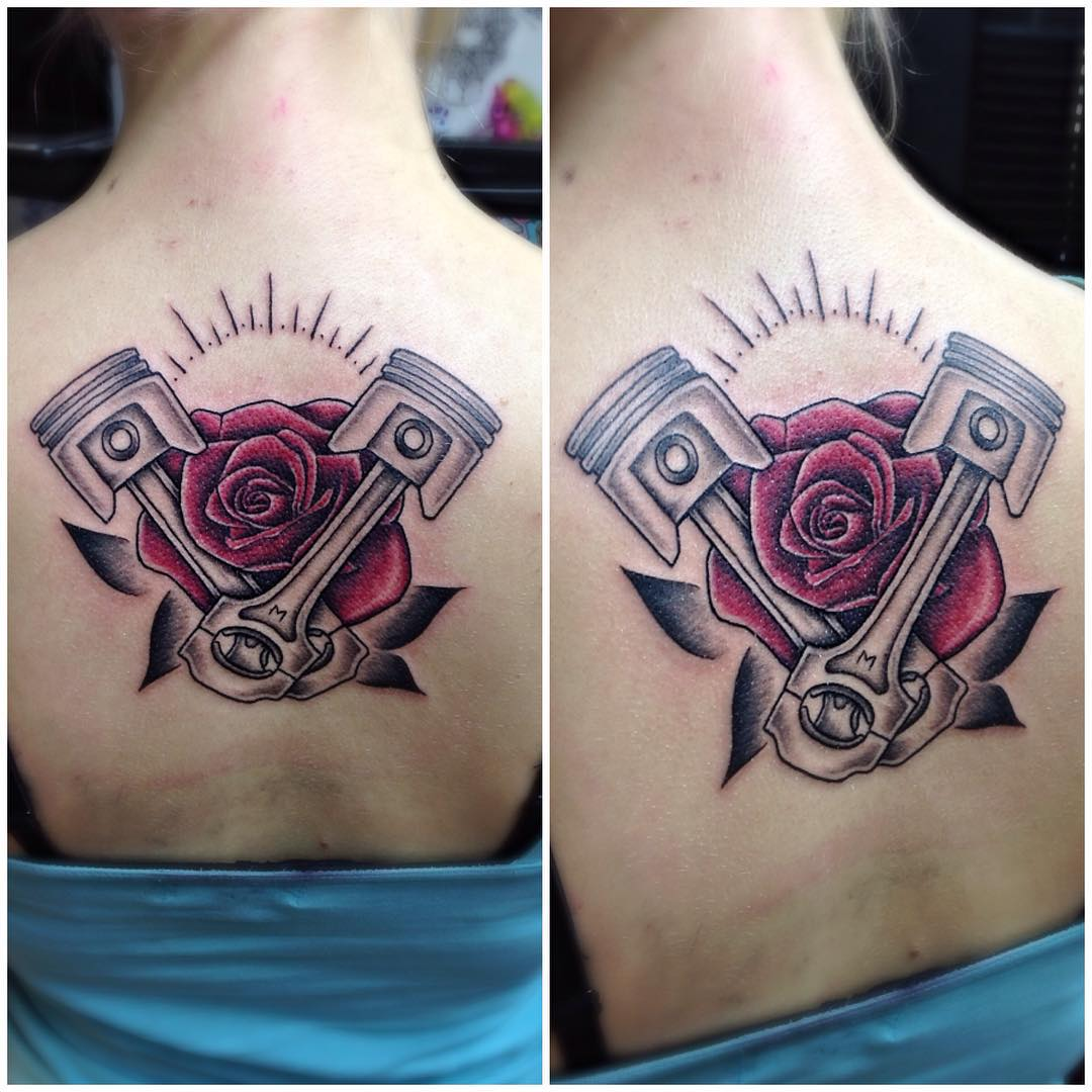 Rose and Pistons Tattoo by kazerquid