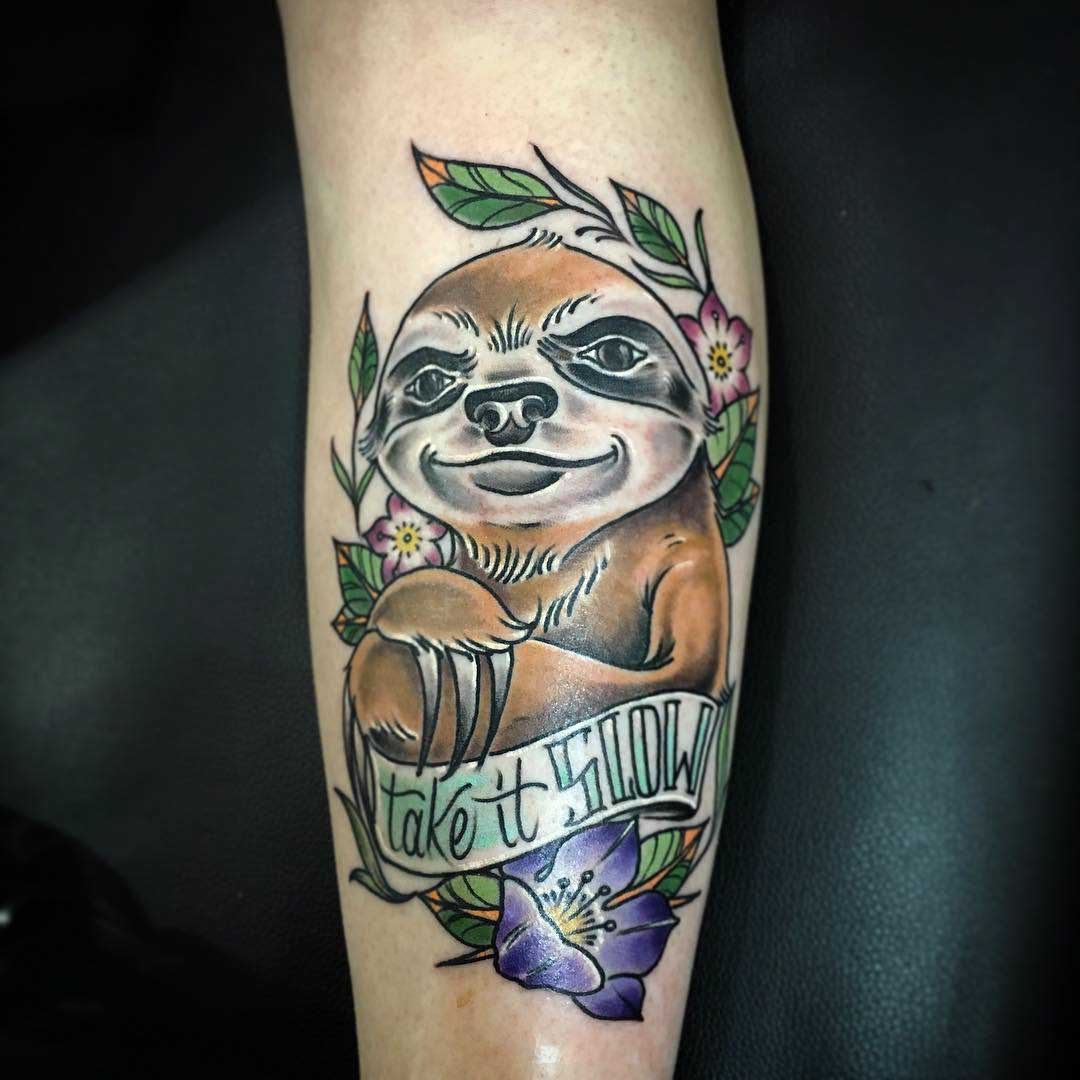 Shin Tattoo Sloth by brandonwhistler
