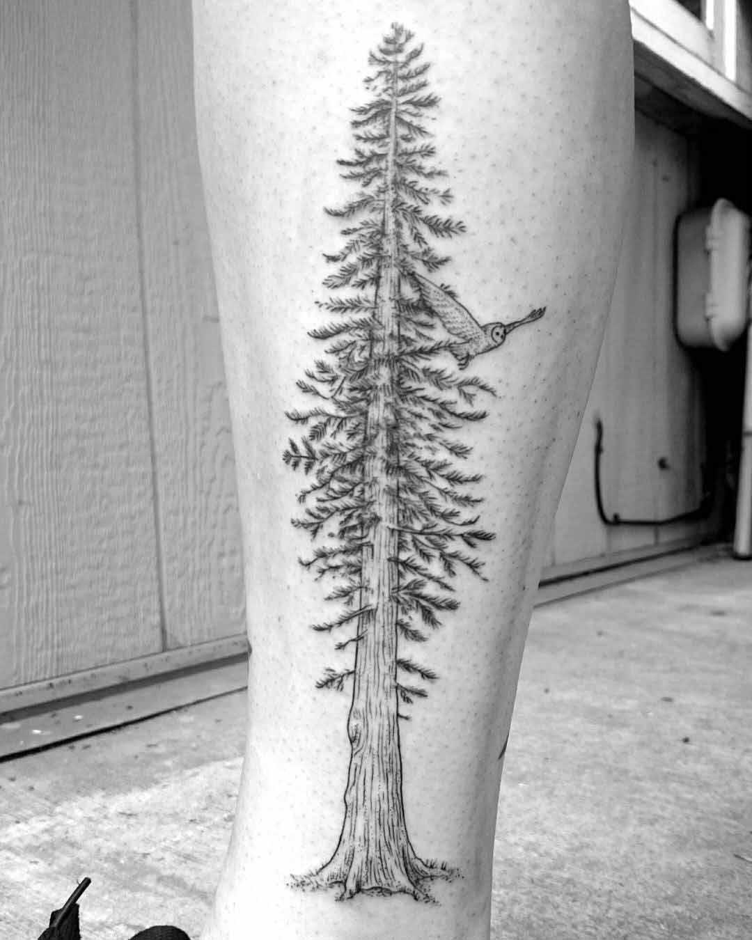Shin Tattoo Tree by caspercallawaytattoo