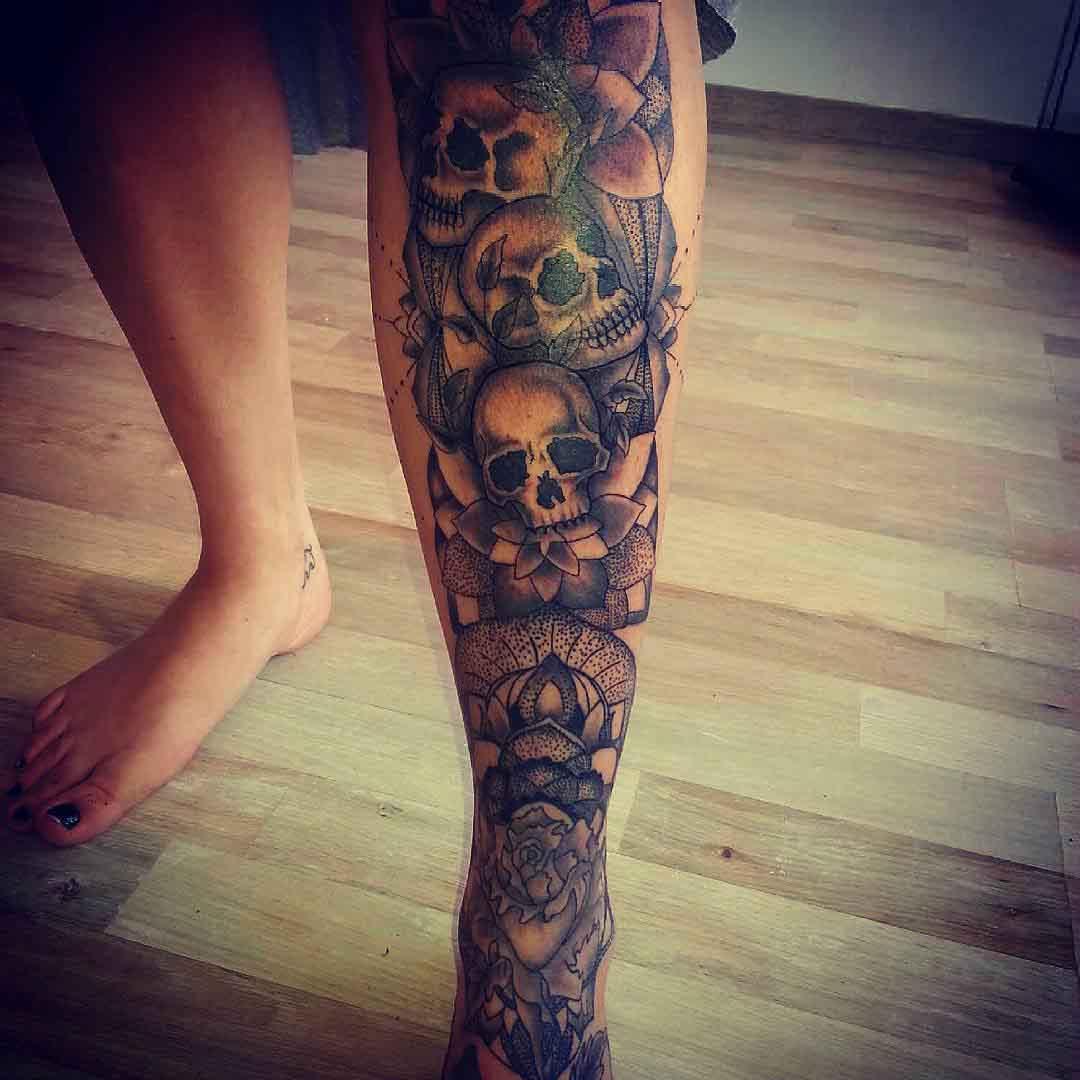 Skulls Tattoo on Shin by sinkinink