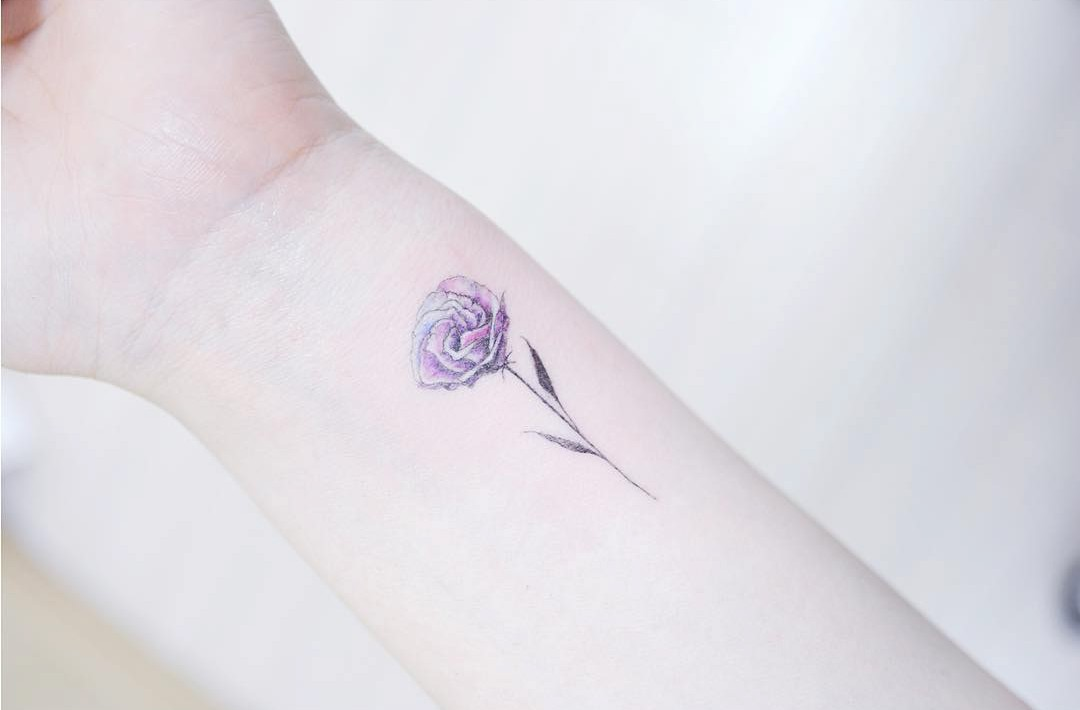 purple rose small tattoo on wrist