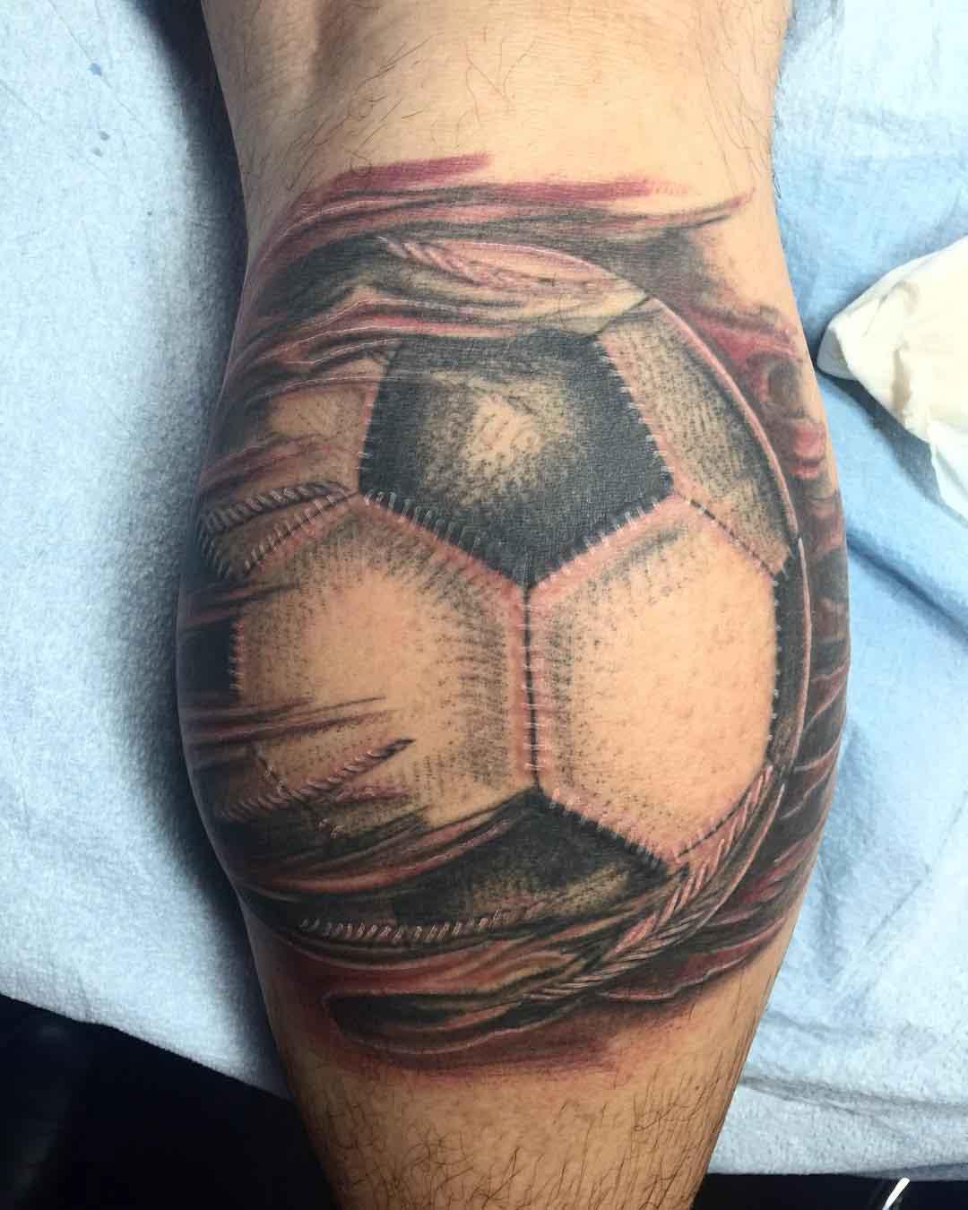 Soccer Ball Tattoo by @juliantattooer