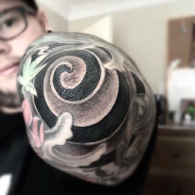 Spiral Elbow Tattoo by maddog_tatts