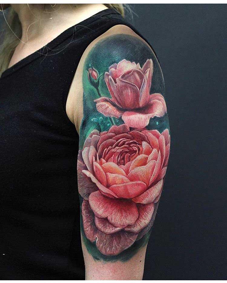 soulder tattoo pink flowers