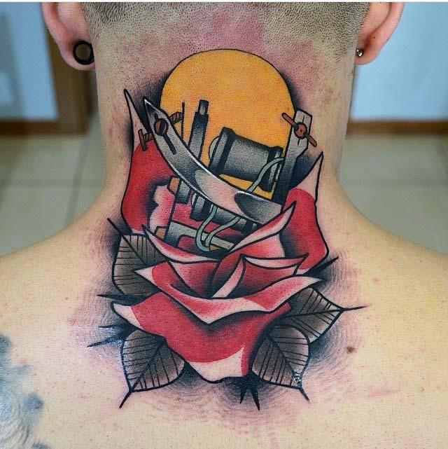 tattoo gun back neck tattoo