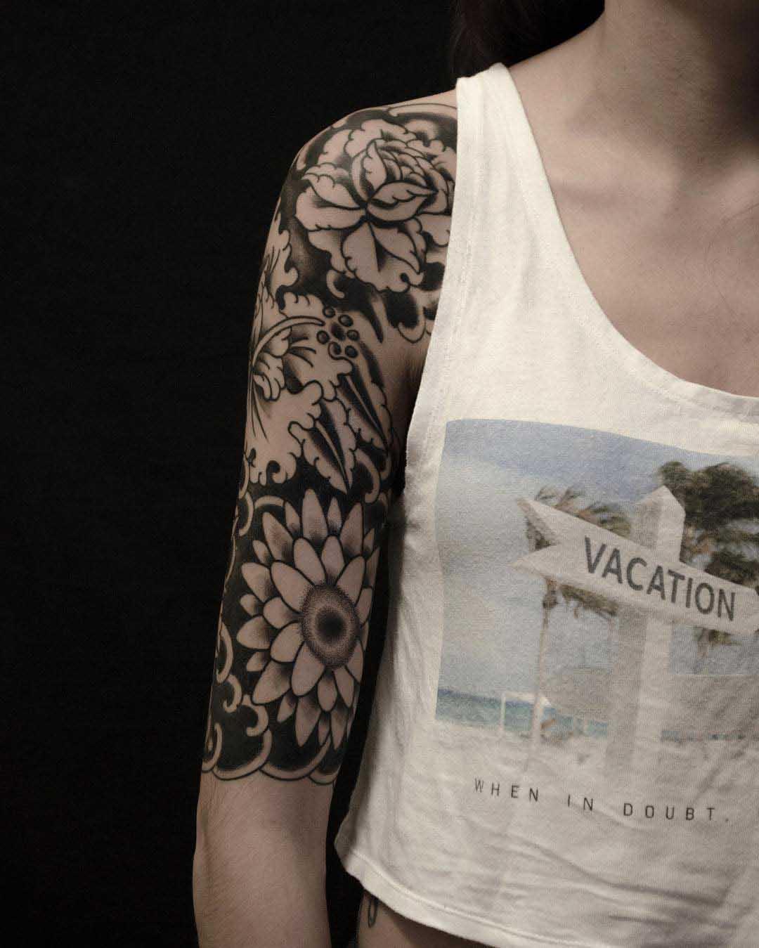 Tattoo Half Sleeve Flowers by pintostattoo
