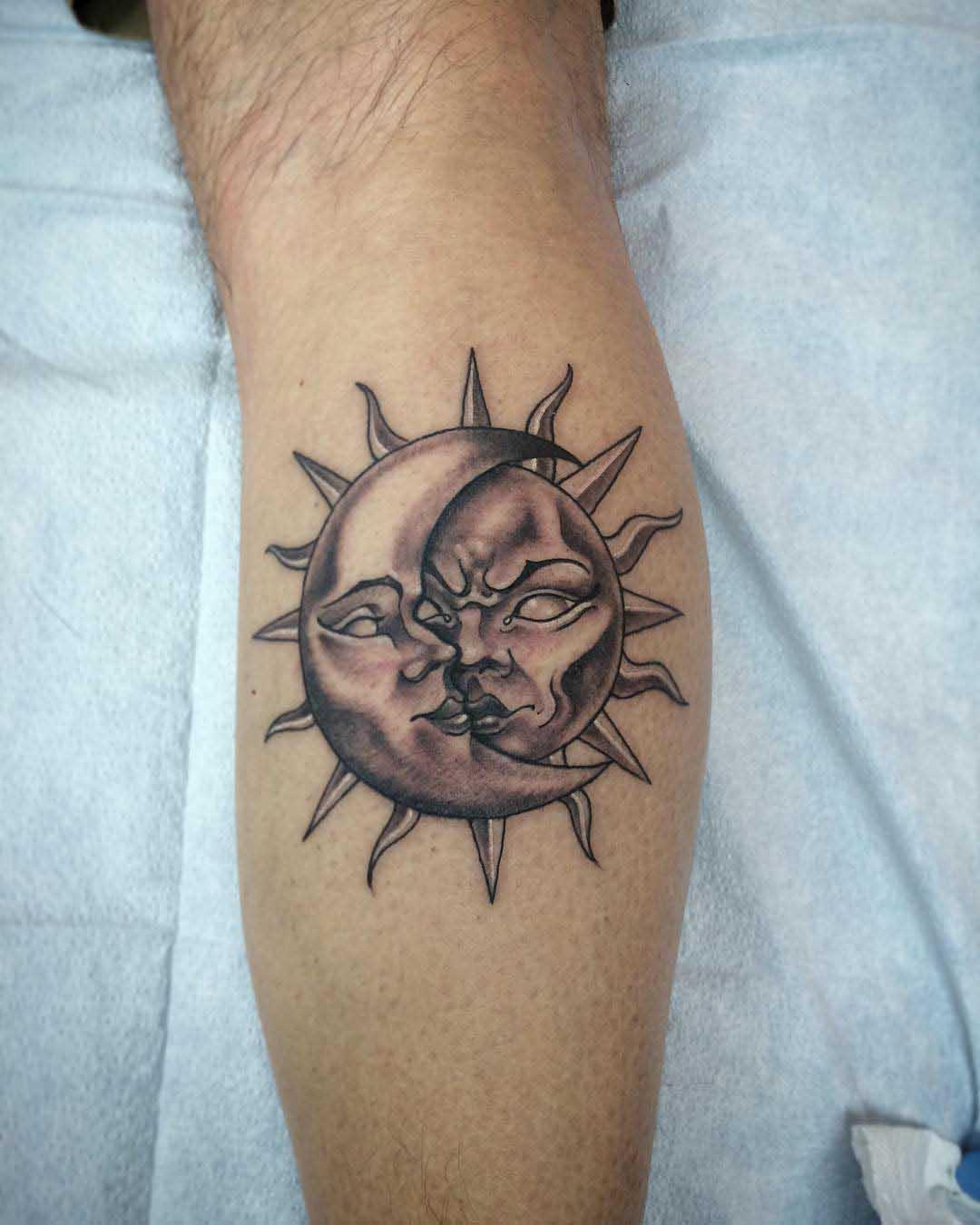Tattoo Sun and Moon by thrashmoneymillionaire