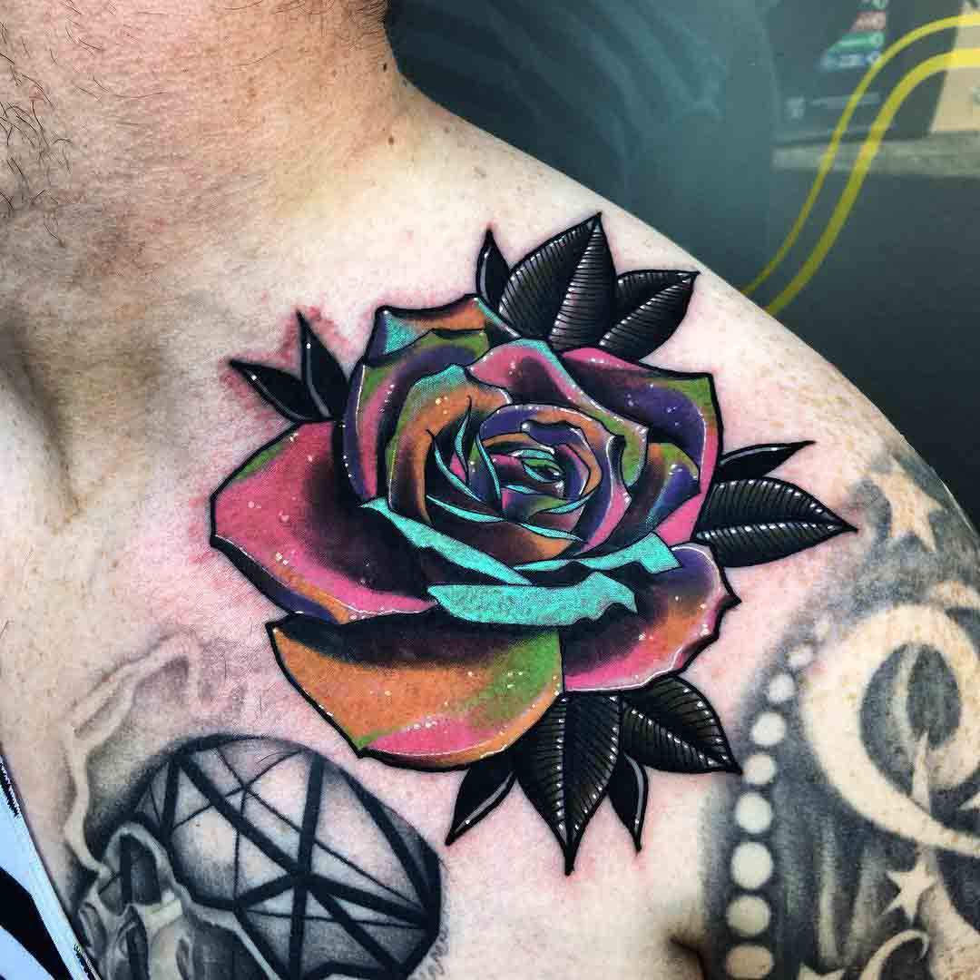 space petals rose tattoo collar bone