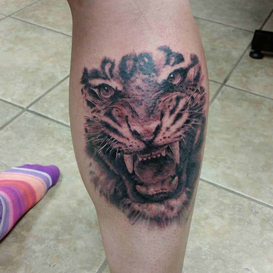 Tiger Calf Tattoo by fernandorodrigueztattoos