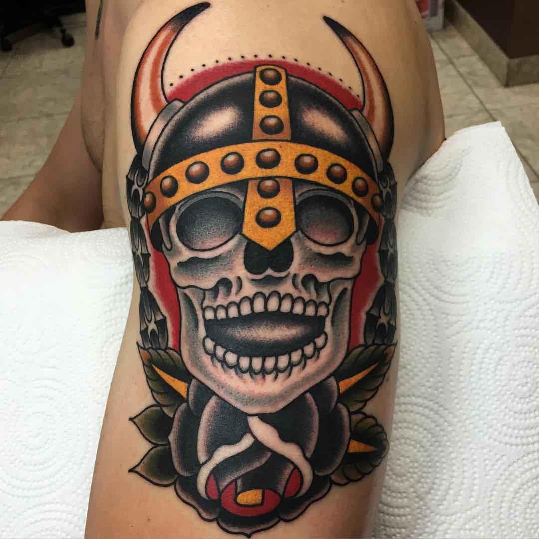 viking skull tattoo traditional