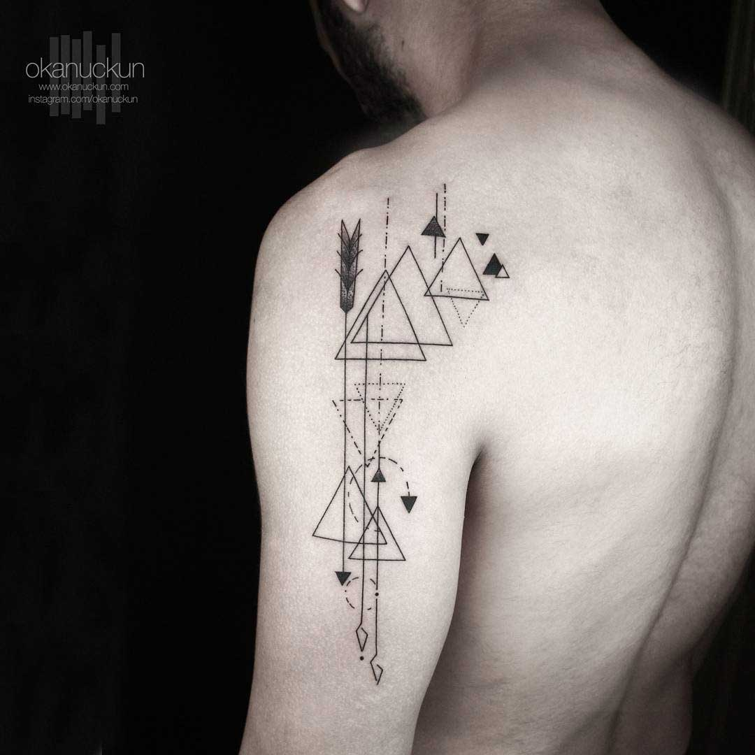 triangles and lines geometric tattoo on shoulder back