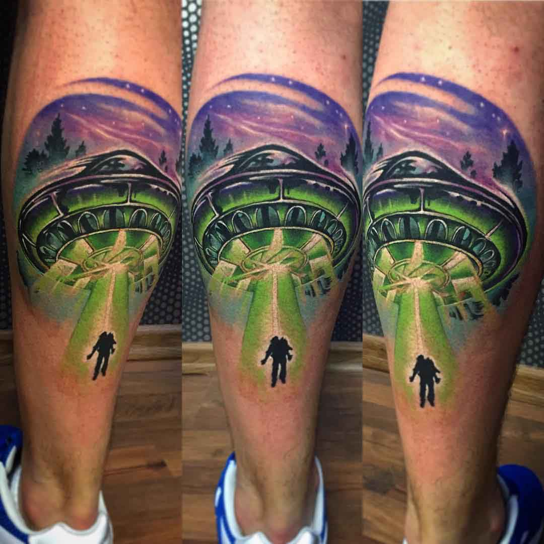 UFO Tattoo on Calf by hartproject_tattoos