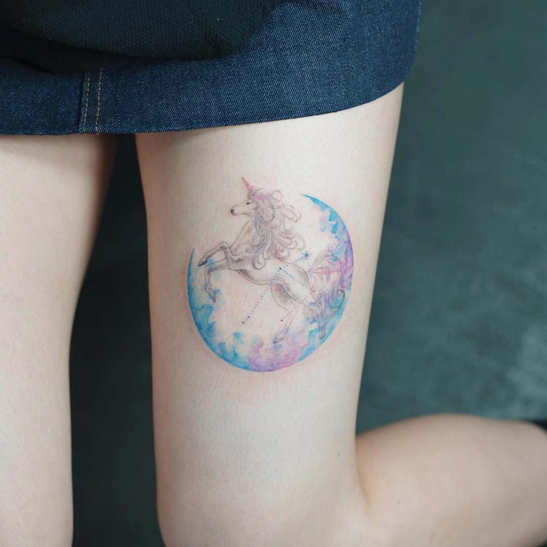 thigh tattoo unicorn moon