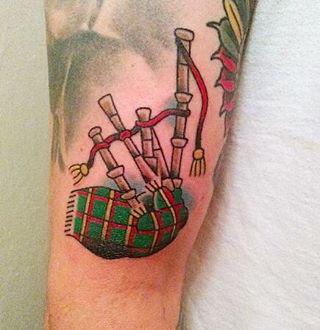 Bagpipes Tartan Tattoo by Chris Gemmell