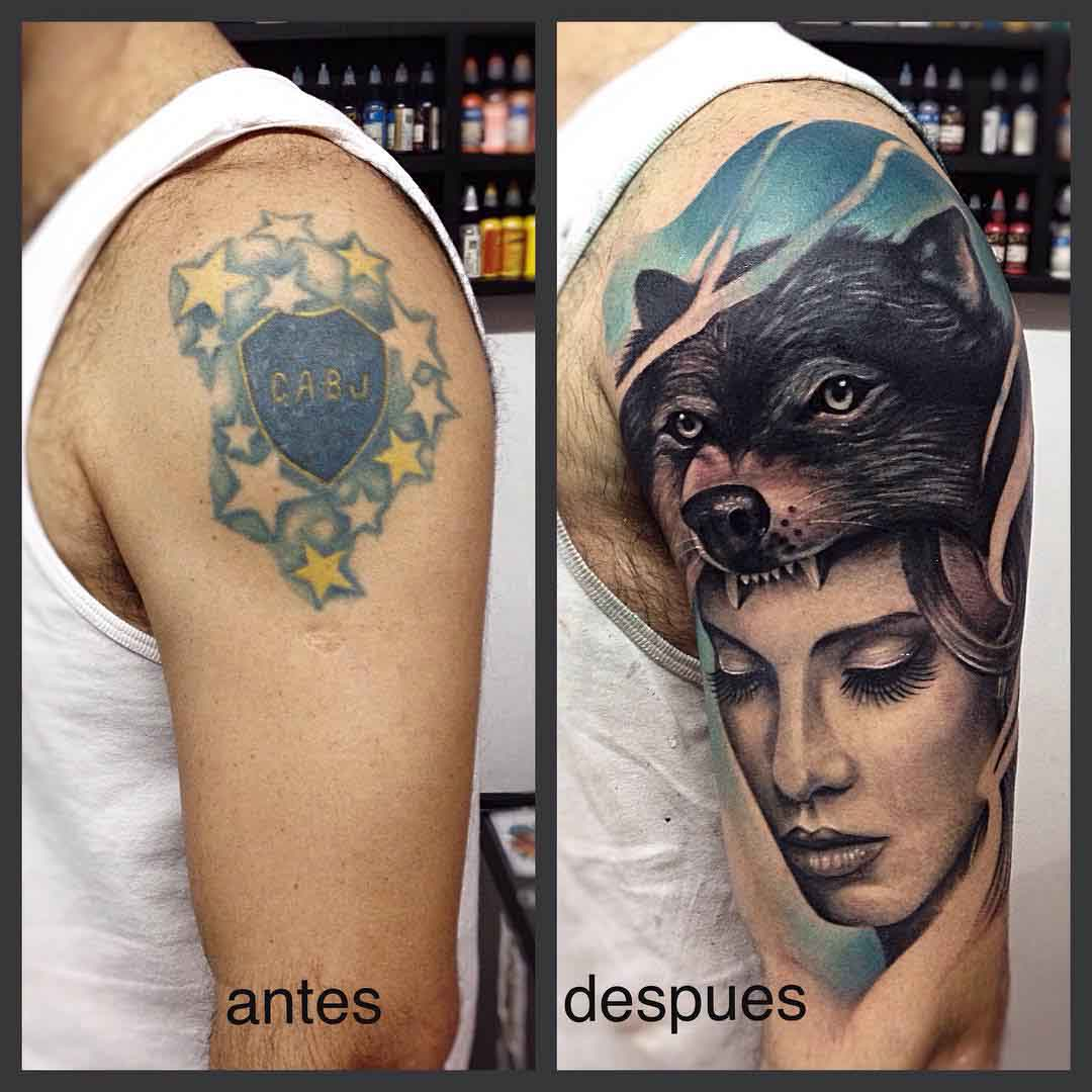 cover-up tattoo on shoulder